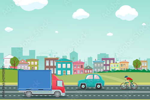 Fotobehang Cartoon cars Highway with cars on the background of the city with houses