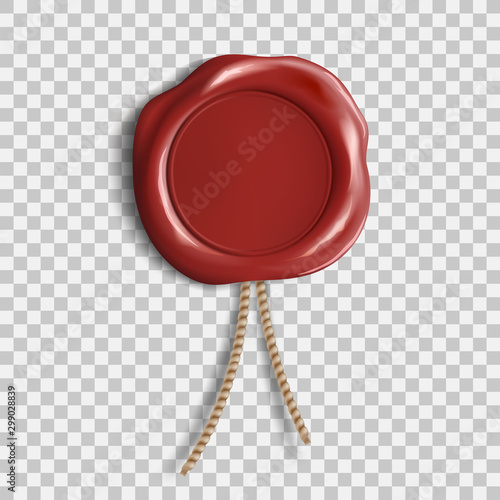 Obraz Red wax seal. Template isolated on transparent background - fototapety do salonu
