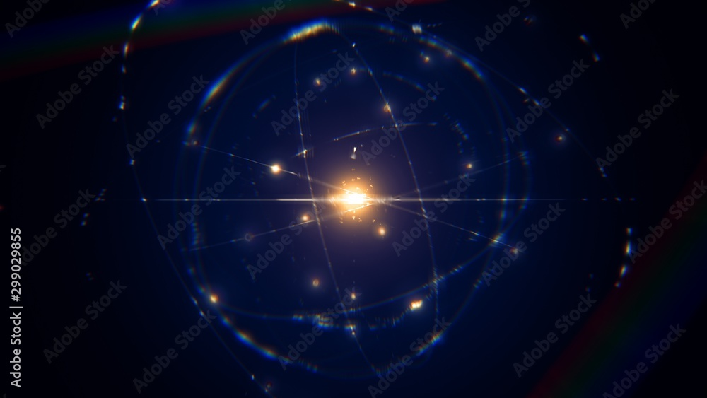 Fototapeta dynamic energetic blue indigo gold atom model concept illustration of glowing proton neutron nucleus, visualization of atom space physics, centric gravity, electrons orbiting as ordered real particles