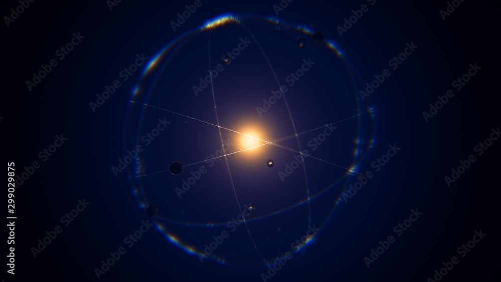 Fototapety, obrazy: dynamic energetic blue indigo gold atom model concept illustration of glowing proton neutron nucleus, visualization of atom space physics, centric gravity, electrons orbiting as ordered real particles
