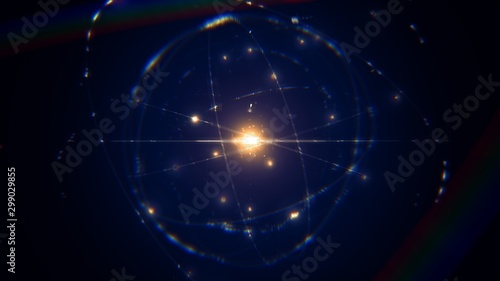 Fotografía  dynamic energetic blue indigo gold atom model concept illustration of glowing pr
