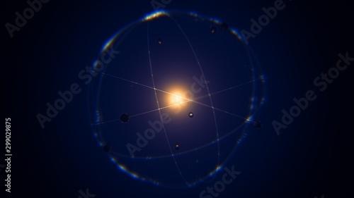 dynamic energetic blue indigo gold atom model concept illustration of glowing pr Tablou Canvas