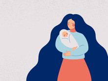 Loving And Caring Mother Holding Her Newborn Child. Young Woman Shows Care And Love For The Baby. Vector Illustration