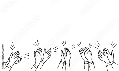 Photo Hand Drawn sketch style of Human hands clapping ovation