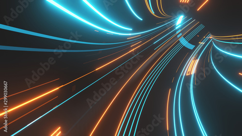 Pinturas sobre lienzo  3D Rendering of abstract fast moving stripe lines with glowing sun light flare