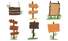 Wooden Signposts Vector Isolat...