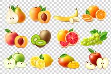 Realistic Fruits Icons Set