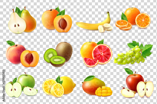 Realistic Fruits Icons Set