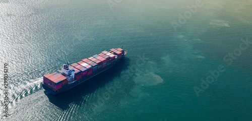 Aerial top view of Large container cargo ship in export and import business and Tablou Canvas