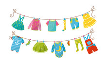 Baby Clothing Drying On Clothe...