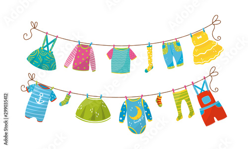 Cuadros en Lienzo Baby Clothing Drying On Clothesline Vector Illustrations Set