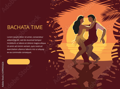 Cuadros en Lienzo Beautiful couple dancing on the beach Latin salsa bachata dance
