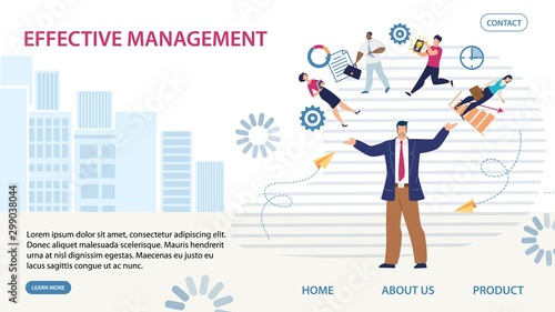 Flat Landing Page Offering Effective Management Wallpaper Mural