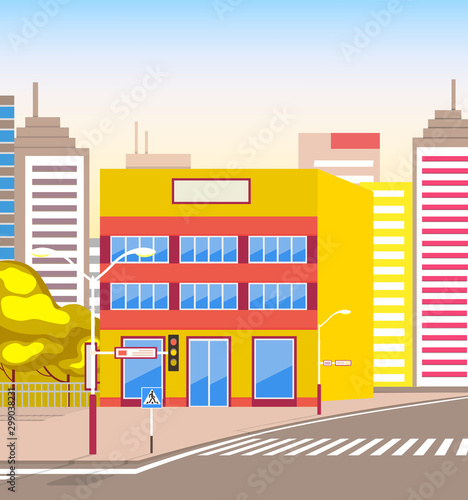 Cadres-photo bureau Cartoon voitures Town with buildings and empty street, 3d look of city road and houses. Bushes and trees, sunshine cityscape. Skyline, crossroad with zebra. Cityscape with houses facades. Ubran landscape. Flat cartoon