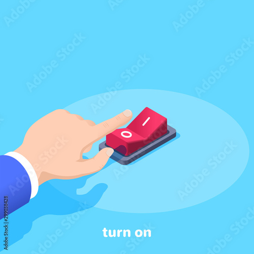 Fotografia isometric vector image on a blue background, male hand presses the red button sw