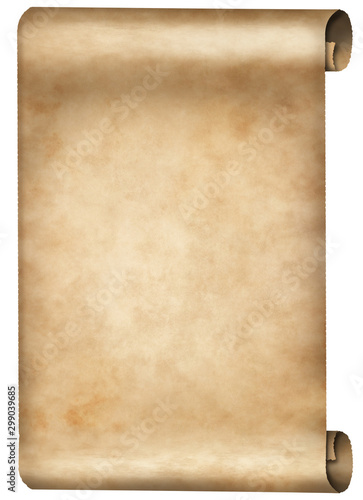 Photo elder vintage parchment scroll isolated on white background
