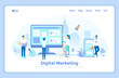 Digital Marketing, social network and media communication. Business analysis, targeting, management. SEO, SEM.  landing web page design template decorated with people characters.