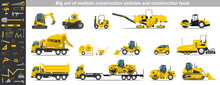 Big Set Of Realistic Construction Vehicles And Construction Tools. Building Banner