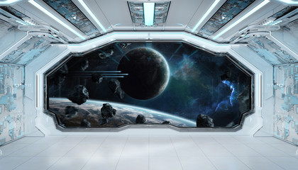 Fototapeta Do pokoju chłopca White blue spaceship futuristic interior with window view on space and planets 3d rendering