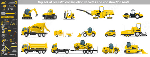 Fotomural Big set of realistic construction vehicles and construction tools