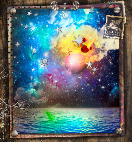 Fairytales amd enchanted starry night over the sea with snowflakes and a full moon