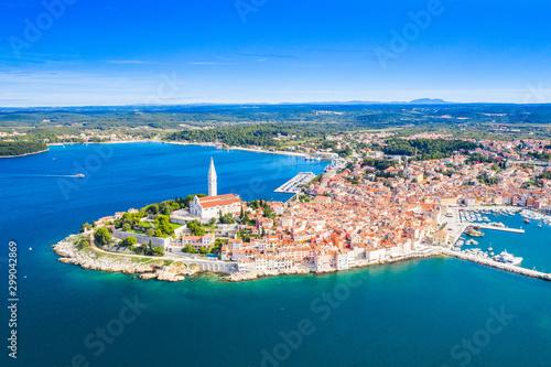 Foto op Plexiglas Schip Croatia, Istria, beautiful old town of Rovinj, aerial coastline from drone