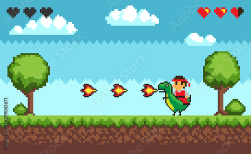 Photo Computer pixel game interface, personage cavalier saddle astride a dinosaur with fire, 8 bit portrait view of fight characters, hero battle in video-game