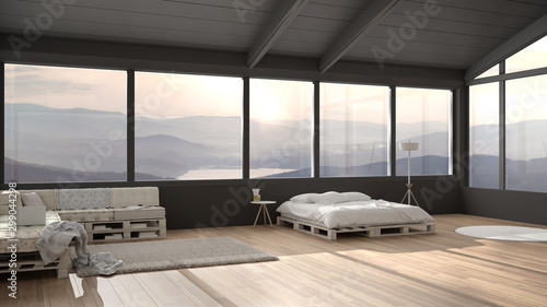 Photo  Big panoramic bedroom with windows on mountain valley, diy bed made with pallet,