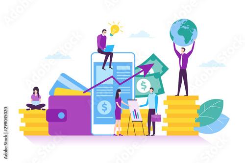 Fototapeta Illustration of online banking, smartphone mobile banking, digital investment and financial concept in modern flat design obraz