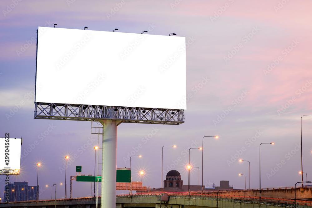 Fototapety, obrazy: Blank billboard for advertisement at twilight