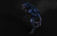 3d Illustration Of A Werewolf On Dark Background With Clipping Path.