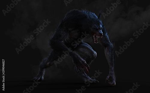 Obraz na plátně 3d Illustration of a werewolf on dark background with clipping path