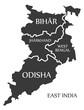 East India region map labelled black illustration