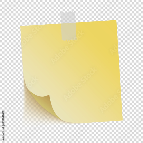 Fotomural  yellow note paper on transparent background