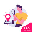 Location Search. Smart Phone and Open Map Navigation. Website landing page layout or webpage template. Flat Vector Illustration