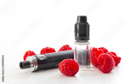 Safe alternative to smoking, vaping fruit flavour vapour conceptual idea with electronic cigarette and bottle of raspberry flavored juice isolated on white background