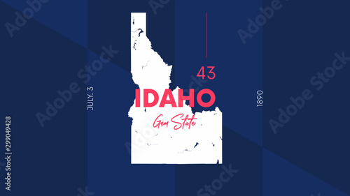 Photo 43 of 50 states of the United States with a name, nickname, and date admitted to