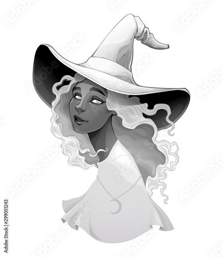 Portrait of a witch in gradients of gray