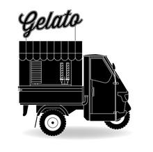 Italienischer Eiswagen Dreirad Gelato Silhouette