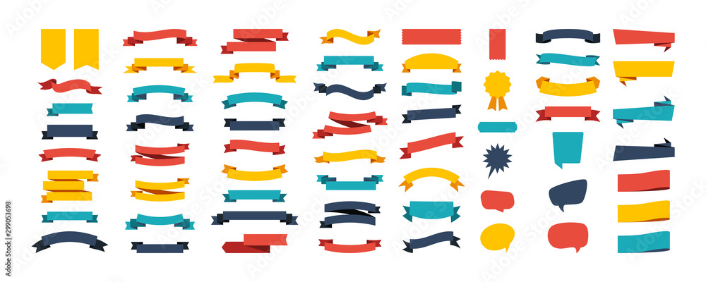 Fototapety, obrazy: Colorful Vector Ribbon Banners. Set of Ribbons Banners with Label, Tag and Quality Badges. Banners set and colorful Ribbon, isolated on white background. Ribbon Banner in modern simple flat design