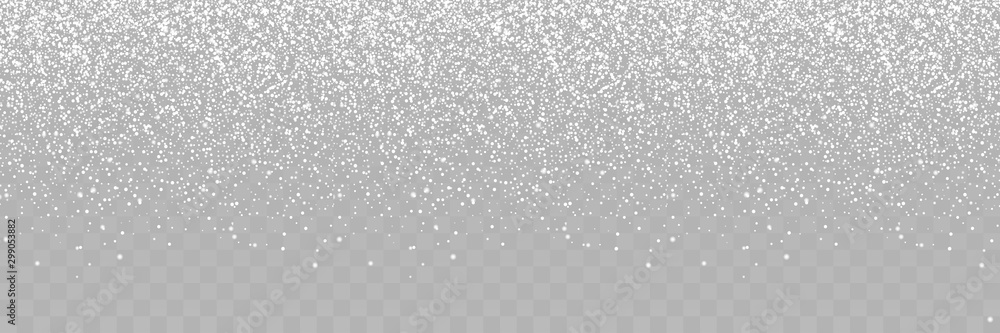 Fototapeta Falling Snow. Winter Christmas Illustration. Snowfall isolated on transparent background. Snow with Snowflakes vector illustration. Realistic little Christmas Snow Panorama view