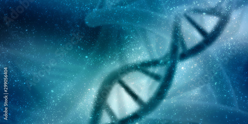 3d render of dna structure, abstract background Poster Mural XXL