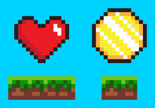 Pixel Game Elements, Coin And Heart In Color. Flat Style Of 8bit Graphics Icons, Animation Videogames Money And Life Symbol, Wealth Point Sign. Pixel-art Vector, Pixelated 8 Bit Game Objects