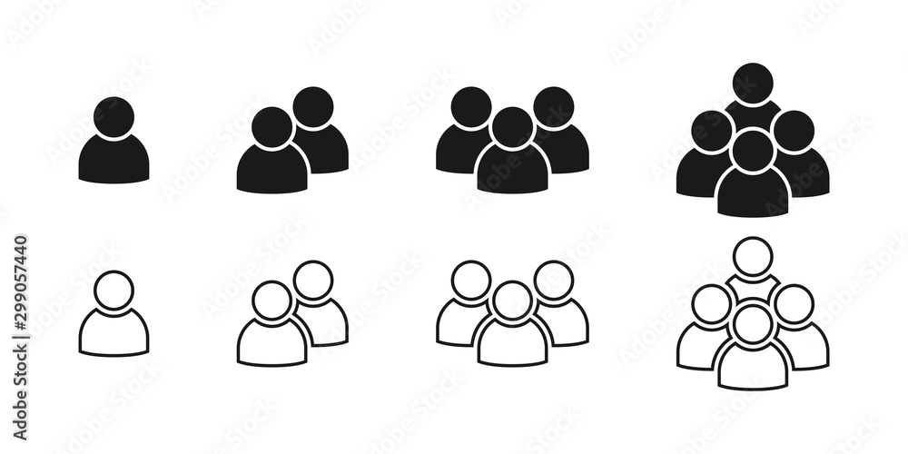 Fototapeta People black vector icons. People icons in modern simple flat and lines design. People vector icon, isolated on white background