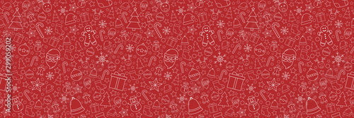 Obraz Beautiful Xmas pattern with ornaments. Christmas wrapping paper concept. Vector - fototapety do salonu