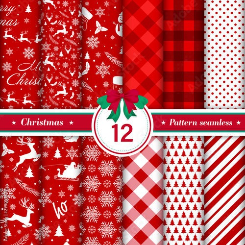 Türaufkleber Künstlich Merry Christmas pattern seamless collection. Set of 12 red and white X-mas winter holiday background. Endless texture for gift wrap, wallpaper, web banner background, wrapping paper and fabric pattern