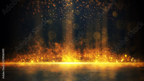 Abstract stylish light effect on a black background. Gold glowing neon line. Golden luminous dust and glares. Flash Light. luminous trail