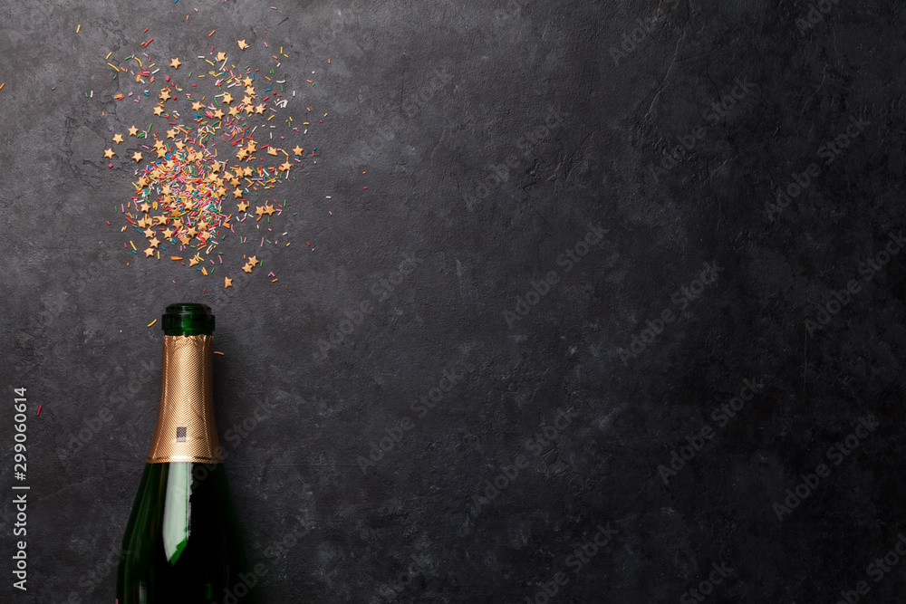 Fototapety, obrazy: Champagne bottle and sweets holiday
