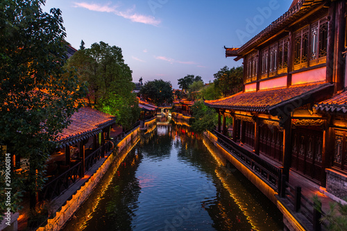 Foto auf Leinwand Altes Gebaude Taierzhuang is located in Zaozhuang in Shandong, is the largest water town in China. Historically, it was an important hub along the Grand Canal, China.