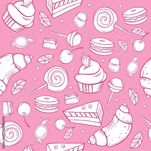 Fototapeta  Sweet candies seamless pattern on white background